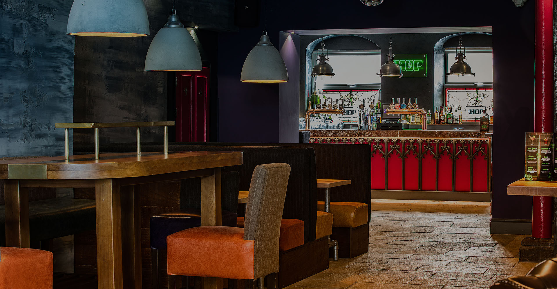 interior shot of the weekend bar at The Hop in Wakefield, our So Choir in Wakefield venue