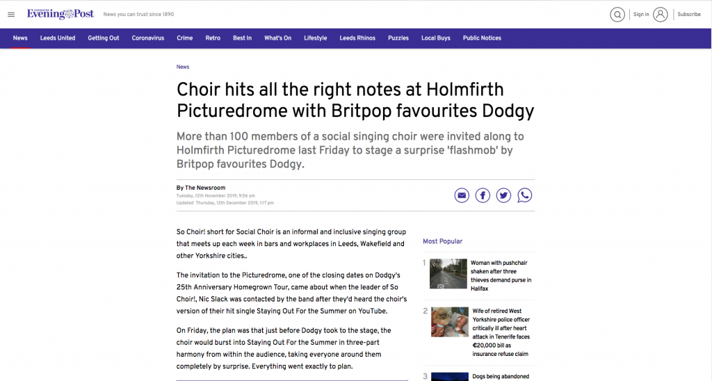 Click on the photo to open a Yorkshire Evening Post article about So Choir! surprising the audience at a Dodgy Gig